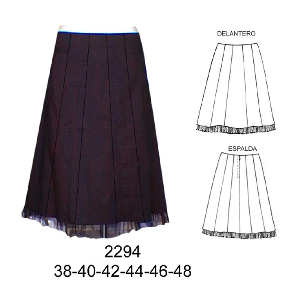 2294 - Falda con tull en basta ,(largo 62 cm