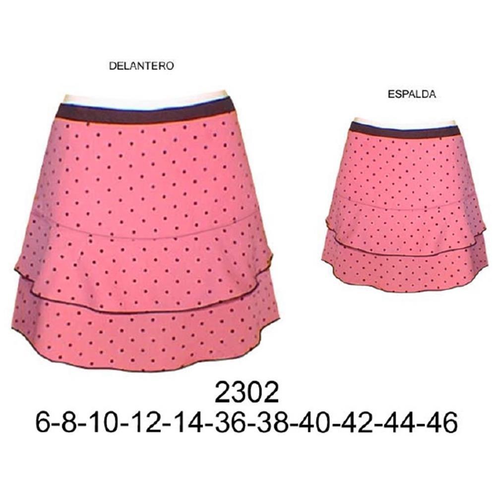 2302 - Falda a la cadera con faldon semi- evase;