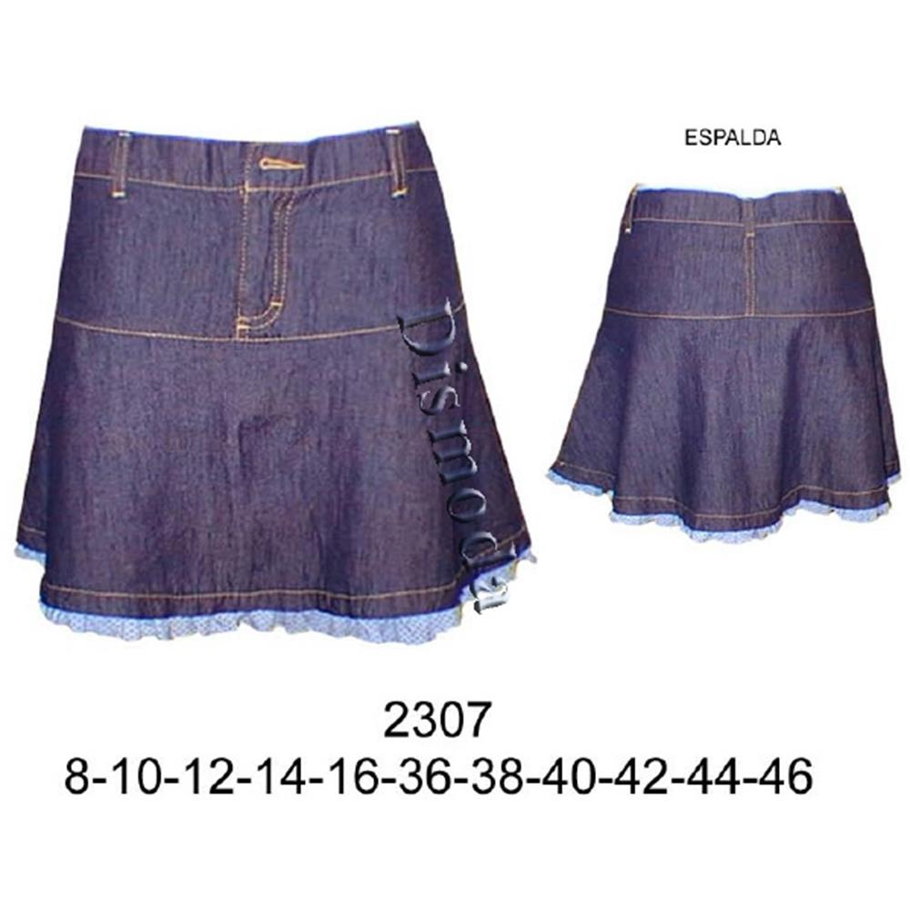 2307 - Falda a la cadera con faldon semi-plato con tira recogida en basta