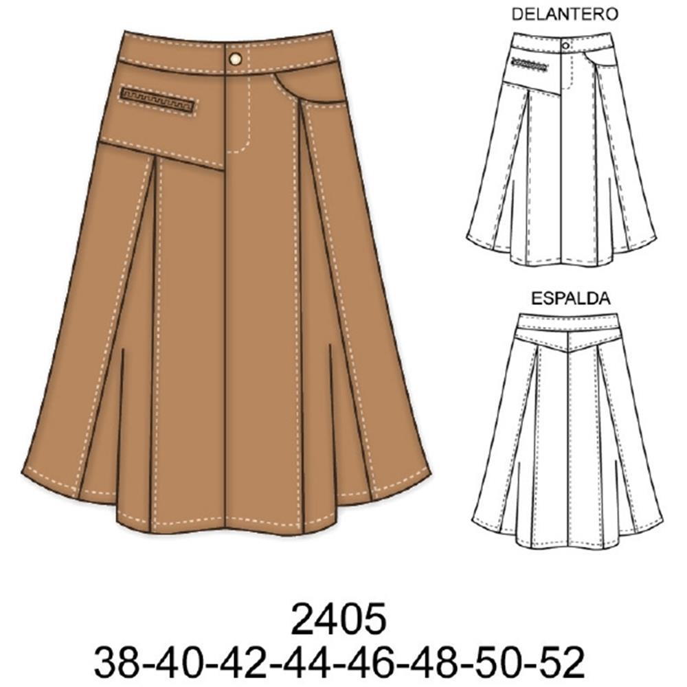 2405 - Falda larga asimétrica