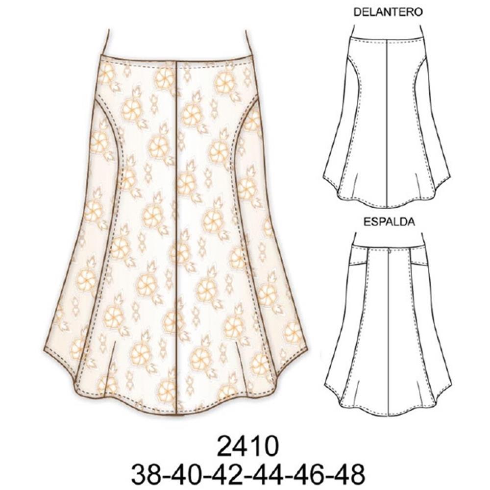 2410 - Falda larga de lino largo de 72 cms