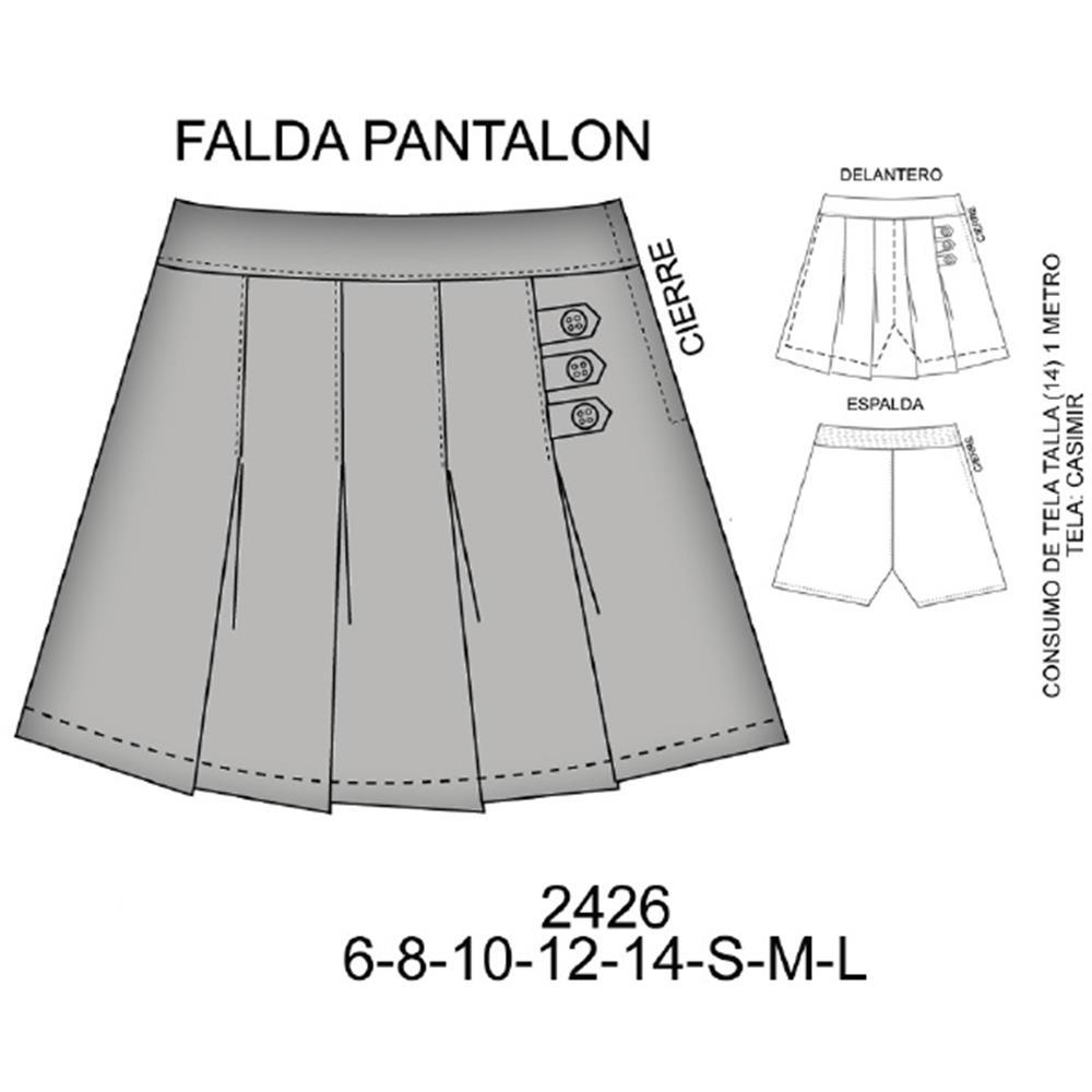 2426 - Falda pantalón con trabas
