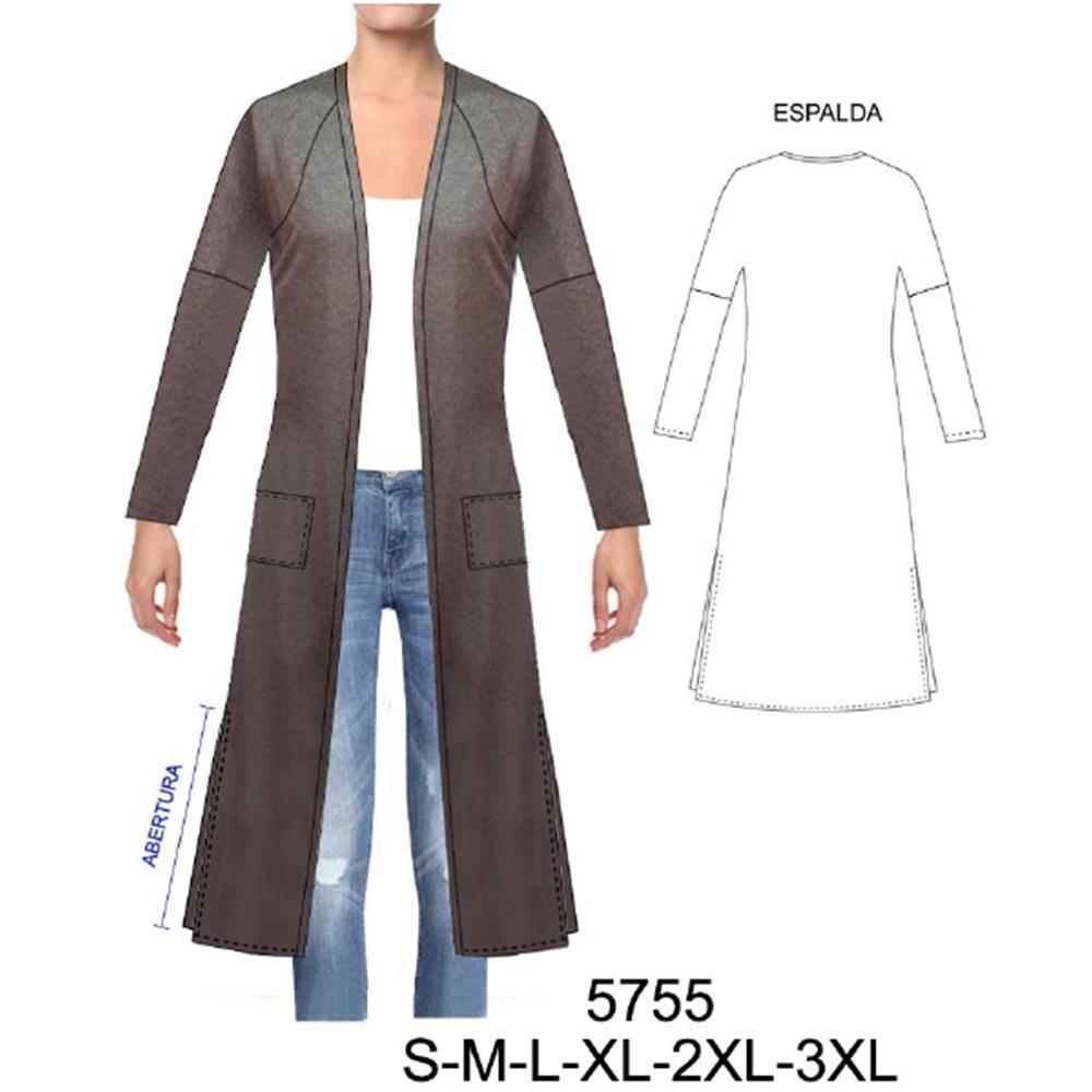 5755 - Tapado largo con abertura lateral, corte mixto, raglan kimono