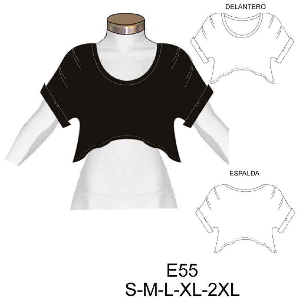 E55 - Polera corta con pliegues en manga semi evase